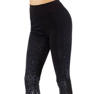 Pants - Yoga pants workout leggings LY6219-Black/White